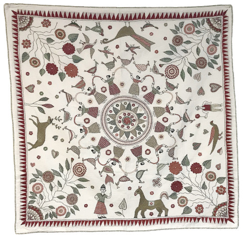 "West Bengal Replica Embroidered Kantha Quilt India (33"" x 33"")dark sand, sage, evergreen, light tan, dusty rose, burgundy-brick red"