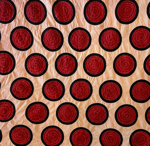 Hand Block Printed and Stitched  Natural Dyed Cotton Fabric A India Red Tan Black