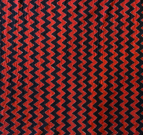 Hand Block Printed and Stitched  Natural Dyed Cotton Fabric B India  Red Black