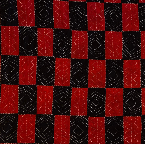 Hand Block Printed and Stitched  Natural Dyed Cotton Fabric C India  Red Black