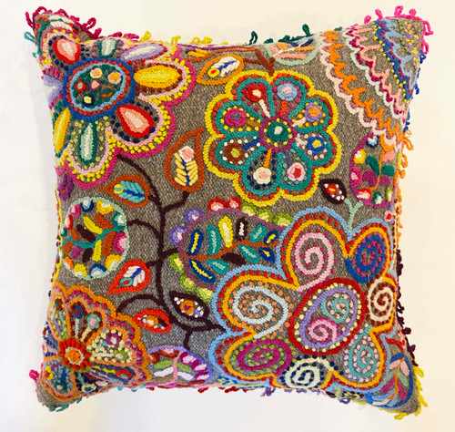 Woolen Hand Woven and Embroidered Pillow Grey with Many Colors Peru