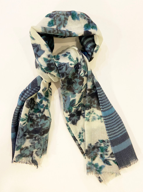 Lightweight wool  Printed Scarf India Blue green teal  white black