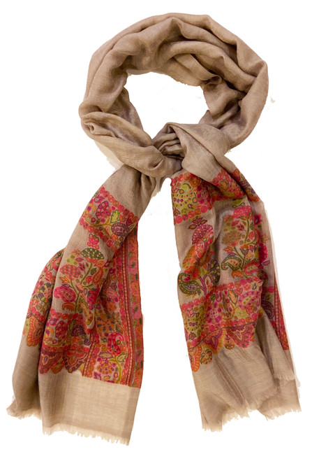 Wool Fine Woven Patterned  Scarf or Shawl India Silver taupe fuchsia melon green