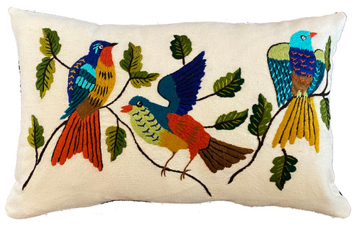 Hand Embroidered Bird Lumbar Pillow Guatemala teal royal blue burnt orange cocoa turquoise ochre brown many different greens