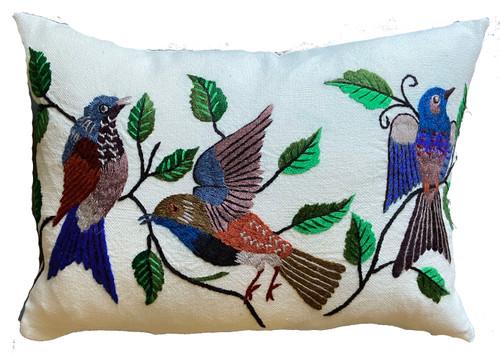 Hand embroidered lumbar pillow Guatemala blue grey indigo blue royal blue taupe tan  ochre brown greens