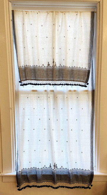 Handwoven Organic Cotton Natural Dyed Curtain Dupatta India white black