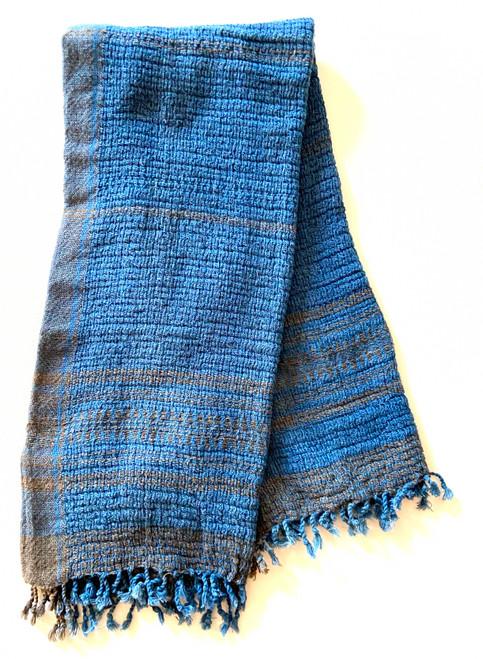 Handwoven Organic Cotton Hand Towel India indigo charcoal
