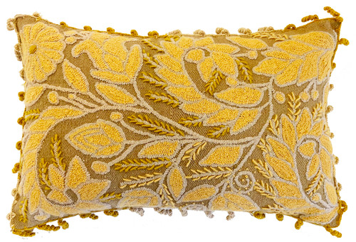 Peru Woolen Hand Woven and Crewel Rococo Embroidered Pillow brass butter yellow cream