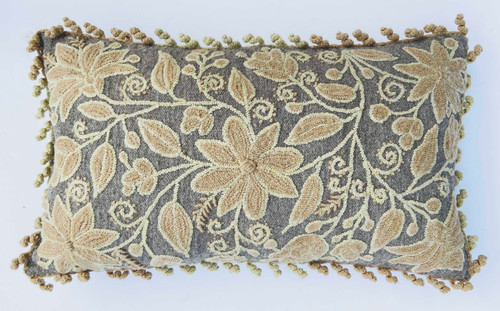 Peru Woolen Hand Woven  crewel, rococo, embroidered Gray Pillow pale yellow tan heather gray