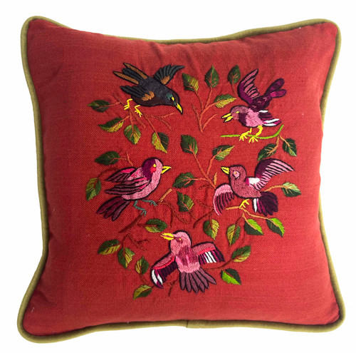 Handwoven and Hand Embroidered Bird Pillow Rust Guatemala