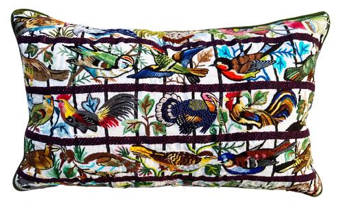 Hand Embroidered Fine Bird Pillow Guatemala