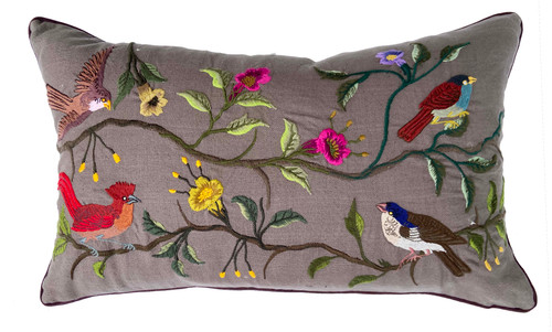 Handwoven Embroidered on Sewing Machine Grey Bird Pillow Guatemala
