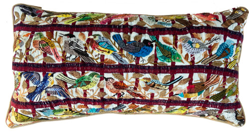 Hand Embroidered Fine Bird Pillow Santiago Atitlan Guatemala