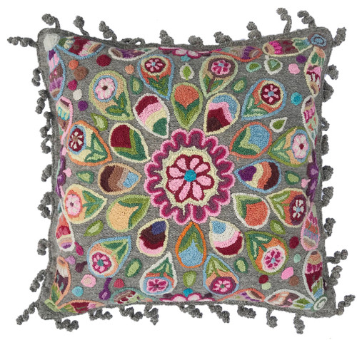 Woolen Hand Woven and Crewel Embroidered Pillow Gray Peru pinks greens blue  orange