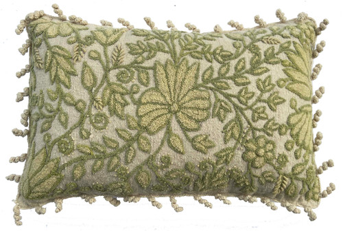 Peru Woolen Hand Woven and Crewel Rococo French knot embroidered Cream Pillow  pale yellowish cream and pale moss green