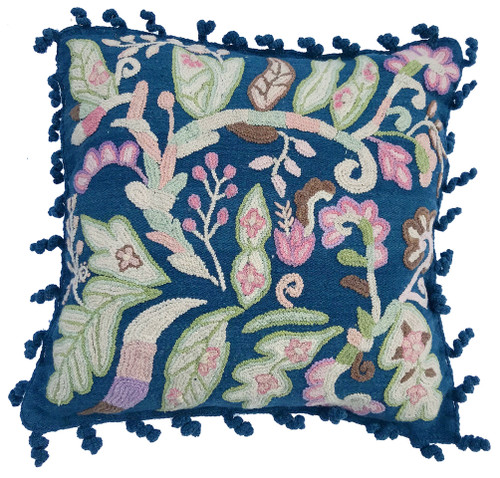 Woolen Hand Woven and Crewel Embroidered Pillow Sapphire Blue Peru soft cocoa brown lavender, cream chalky pale peach pink, pale powder blue and moss green