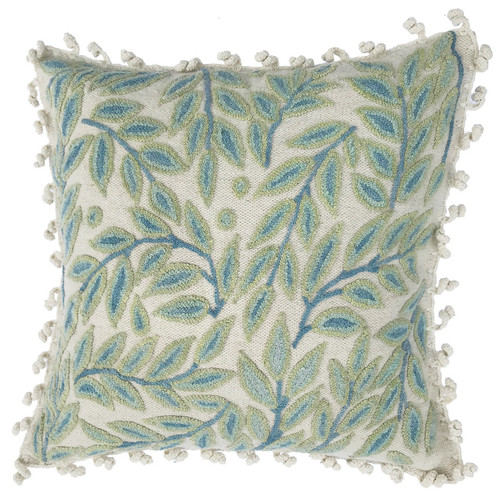 Woolen Hand Woven and Crewel Celadon Embroidered Pillow Peru blue cream