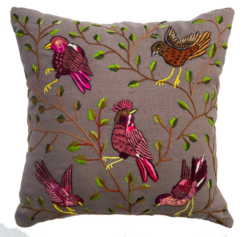 Handwoven and Hand Embroidered Bird Pillow Grey Rose Green Guatemala