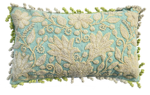 """Peru Woolen Hand Woven and Crewel Embroidered Pillow (13"""" x 20"""") cream  and bright moss green"""