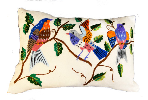 Handwoven and Hand Embroidered Bird Lumbar Pillow White Guatemala lavender bright blue grey greens orange dusty rose light blue