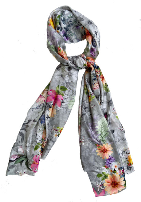 Digital Printed Silk and Rayon Scarf Floral Grey India vibrant colors-peach rose marigold pinks purples charcoal and greens