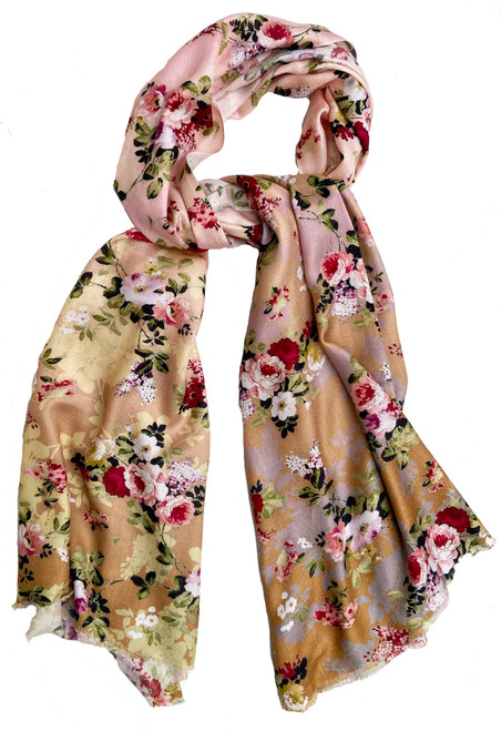 Digital Printed Silk and Rayon Scarf Floral India peach pinks red white green pale pink lavender grey to muted gold