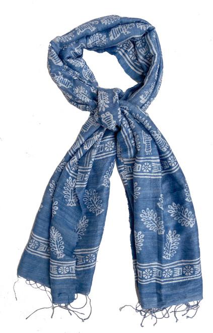 Hand Batik Indigo  Dyed  Matka Silk  Scarf India blue white