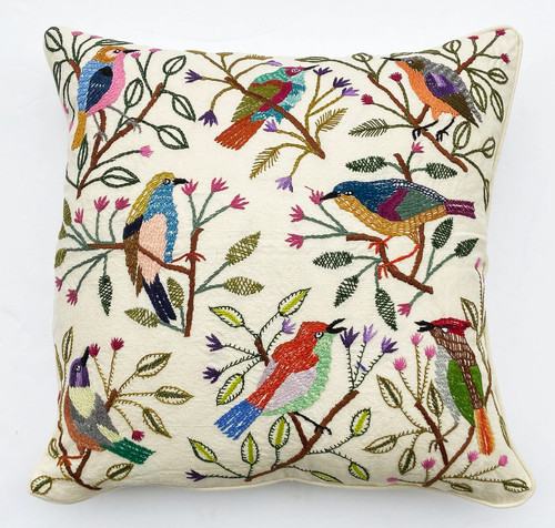 Handwoven and Hand Embroidered Bird Pillow on White Guatemala colorful embroidery