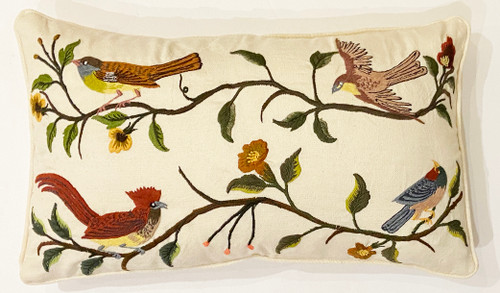 Handwoven Embroidered White Bird Pillow Guatemala green rust browns blue green cocoa pale yellow salmon mustard