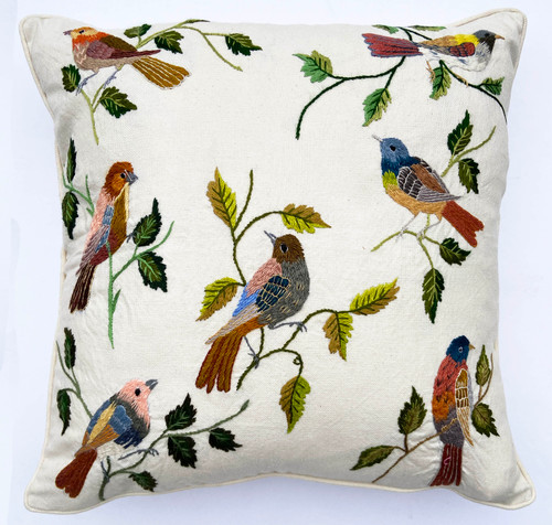 Handwoven and Hand Embroidered Bird Pillow Guatemala white green grey pale blue violet lime brass pale gold rust  indigo blue pale pink orange