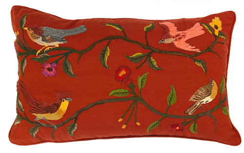 Handwoven Embroidered Rust Bird Pillow Guatemala muted tones of greens grey  dusty rose rose mustard  gold  yellow brown tan peach