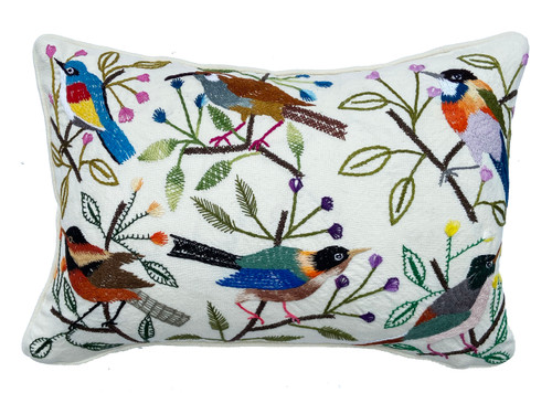 Handwoven and Hand Embroidered Bird Pillow on White Guatemala greens rust black tan royal blue light blue yellow magenta light pink yellow lavender