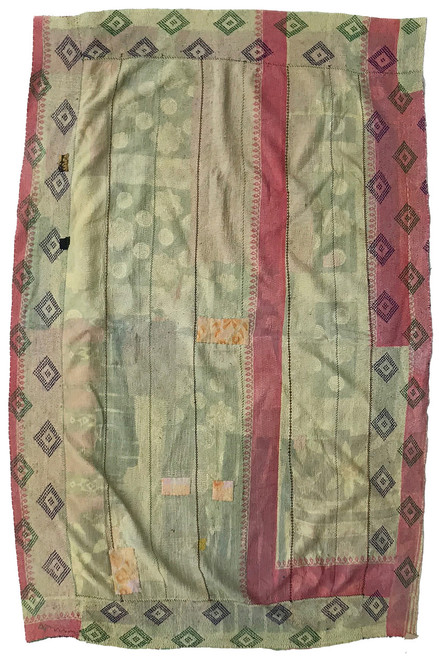 Kantha Quilt Hand Stitched Vintage Sari India color chalky citrine yellow and dusty pink mint green with chalky melon rose and faded purply red-brown