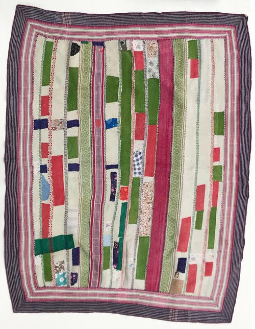Kantha Quilt Hand Stitched Vintage Sari India Grayed white grass green red magenta-pink  teal royal blue Sky blue powder blue purple