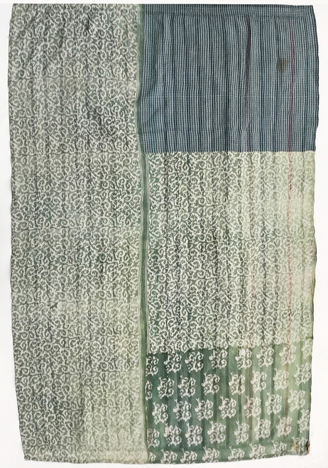 Kantha Quilt Hand Stitched Vintage Sari India  sage greyed white colonial blue teal purple grass green