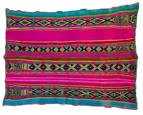 Frazada brilliant handwoven wool Peru fuchsia light pink turquoise kelly green black brass red orange and a bit of white.