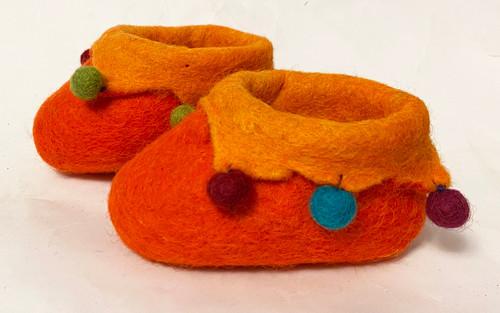 Handmade Felt Baby Booties Nepal Orange