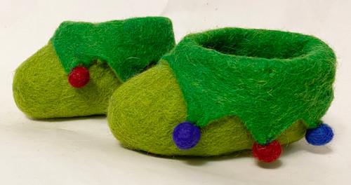 Handmade Felt Baby Booties Green Nepal (2.25 x 4.25)