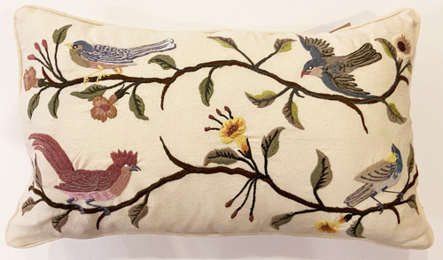 Handwoven Embroidered White Bird Pillow Guatemala muted colors greens grey dusty rose tan yellow blue grey