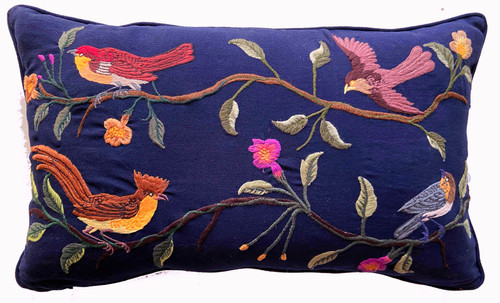 Handwoven Embroidered Dark Blue Bird Pillow Guatemala greens rust copper  grey gold brown  yellow