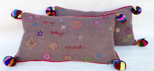 "Handwoven and Hand Embroidered Set of 2 PillowsGuatemala (10"" x 20"")"