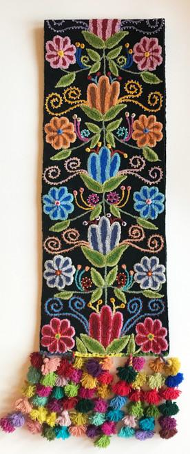 Handwoven Hand Embroidered Crewel Wool Table Runner Black  Peru rose pink red greens light grays  blues  pumpkin  rust
