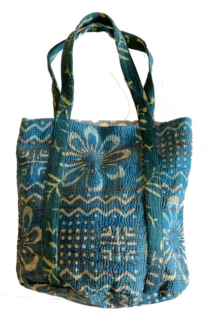 Hand Stitched Kantha Shoulder Bag Cotton Indigo White India