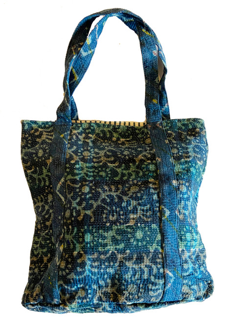 Hand Stitched Kantha Shoulder Bag Cotton India indigo teal cream
