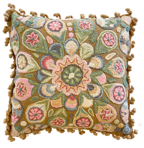 Woolen Hand Woven and Crewel Embroidered Pillow french knot Camel muted colors