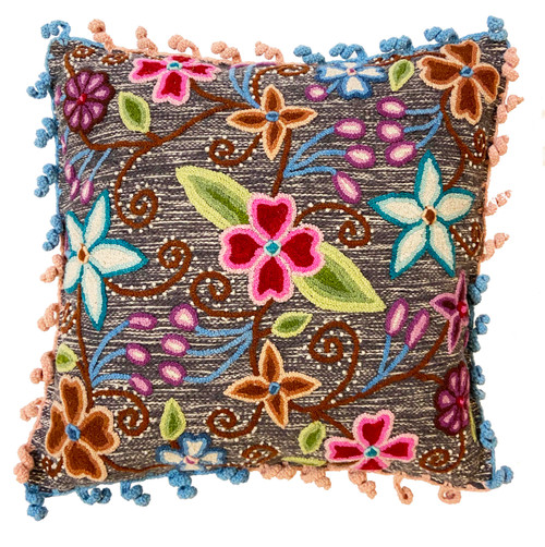 Woolen Hand Woven and Embroidered Pillow Peru blue grey cream bright colors