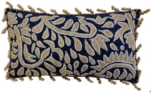 Peru Woolen Hand Woven and Crewel embroidered Indigo Pillow  light blue grey