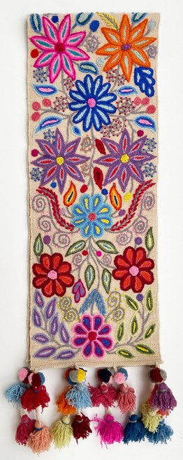 Handwoven Hand Embroidered Crewel French knot rococo Wool Table Runner Flowers Peru orange red orange pink deep red lavender purple, royal blue light blue mint green forest green