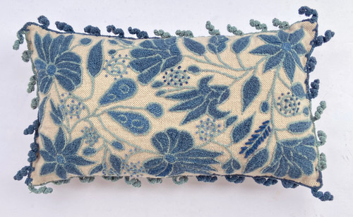 Peru Woolen Hand Woven and Embroidered  Floral Pillow Prussian blue  pale blue off-white
