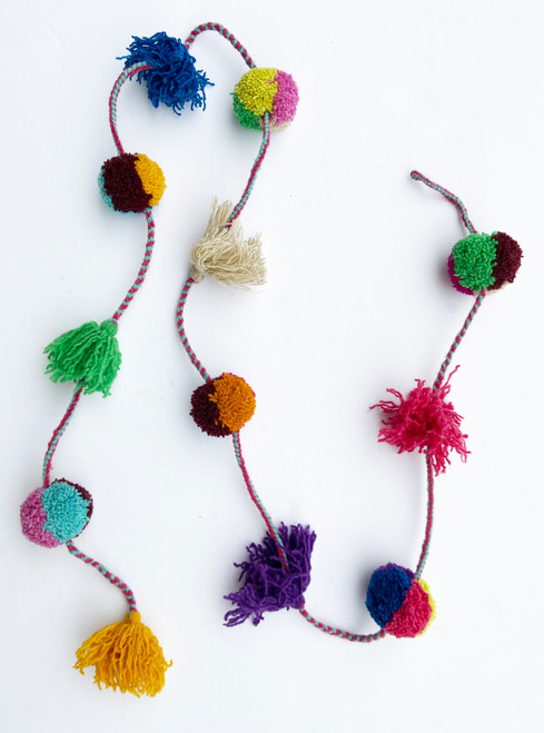 "Handmade Wool Pom Pom Garland  Peru (60"")"